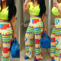 Light Green Geometric Print Cropped Top and Pants