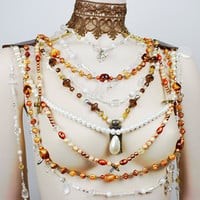 Steampunk intricate collar / Copper multistranded necklace