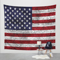 USA Grunge Flag Wall Tapestry by Alice Gosling