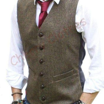 ONETOW Latest Coat Pant Designs Brown Tweed Men Vest Waistcoat Fashion Slim Fit Mens Formal Wedding Prom Custom High Quality Vestido