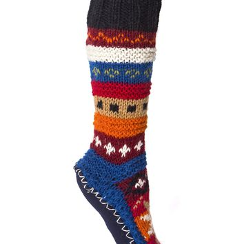 Red Hand Knit Wool Long Sock Slippers | Tibetan Socks