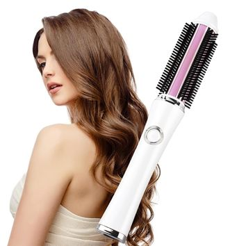 2017 New Portable Hair Curler Brush 2 in 1 Straightener Iron Rechargeable Battery Electrical Curling Brushes Straightening Comb