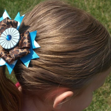 bright blue and leopard print hair bow- hair bow with button, animal print barrette