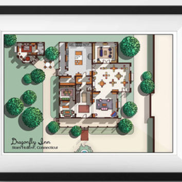 Gilmore Girls DragonFly Inn Floor Plan - Gilmore Girls TV Show Layout- Dragonfly Inn, Stars Hollow, Connecticut