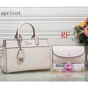 ac NOVQ2A Dior 2018 latest women's fashion elegant leather handbag (Two sets) F-RF-PJ apricot