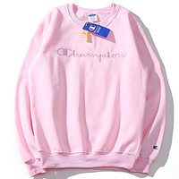 Champion 2018 men and women lovers wear pink embroidered round neck sweater F-A-KSFZ pink