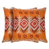 ZLYC 18 x 18 Inch Ethnic Indian Style Cotton Linen Square Decorative Throw Pillow Case Cushion Cover Set of Two Orange