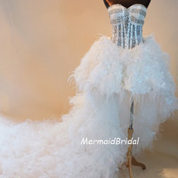 Sexy high low wedding dress/prom dress/ wedding gown with tulle ruffles and feathers