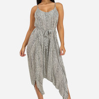 Striped Harem Jumpsuit With Belt (White)