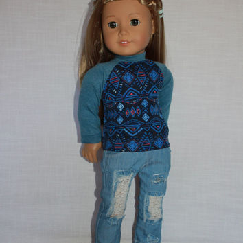 18 inch doll clothes, blue geometric print shirt,  ripped denim skinny jeans, american girl ,maplelea