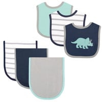 Hudson Baby Boys 6 Piece Dinosaur Bib and Burp Cloth Set