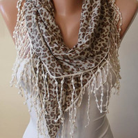Autumn Scarf - Light Brown - Grey and Leopard Scarf with Beige Trim Edge - Triangular - Leopard Combed Cotton Fabric
