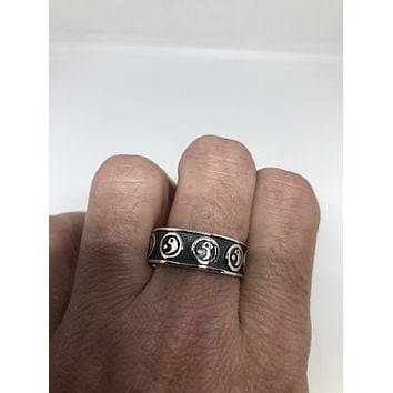 Vintage Gothic Yin Yang Sterling Silver Mens Ring