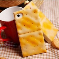 yellow cute high artificial biscuit/cookies case for iphone 4/4s
