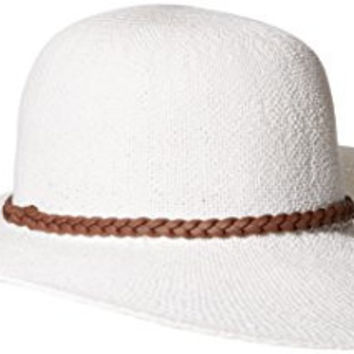 'ale by alessandra Women's Mahrina Woven Toyo Hat with Leather Trim, White/Brown, One Size
