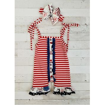 Americana Striped Shoulder Tie Romper & Headband