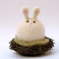 Easter Bunny Toy sitting on her nest . Very sweet and VERY cute . Needle Felted Wool