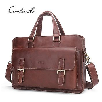 CONTACT'S Genuine Soft Leather Men Business Bags Genuine Cow Leather Male Zipper Laptop Bag For Men's Briefcase Shoulder Bags
