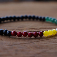 Rastafari Real Gemstone Beaded Stretch Bracelet