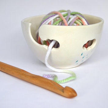 Yarn Bowl Hand Painted in green or blue colors, with Openwork Clouds