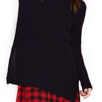 Black Long Knitted Sweater with Side Zippers