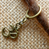 Dread Bead With Hanging Om Charm, Brass Dread Bead, Dreadlock Bead