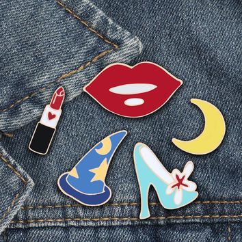 Dating Wedding Lipstick High Heels Sexy Lips Hat Moon Pins Collection gril Women Jewelry Badge Creative Gifts for Best Friends