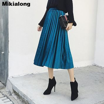 Mikialong Velvet Pleated Skirt Women Peacock Blue Color Long Skirts Womens 2017 Winter Autumn Female High Waist Faldas Saia Midi