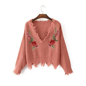 Pullover Women's Fashion Ladies Embroidery V-neck Knit Sweater [1447966834785]