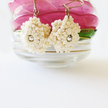 Hand Crocheted Lace Dangle Floral Ivory Earrings with by sukran