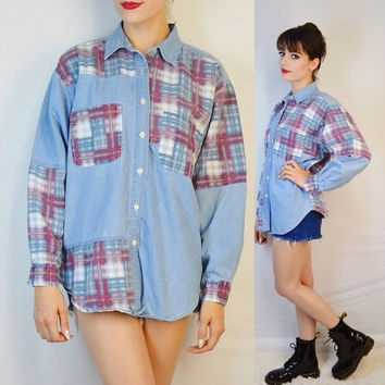 90s Denim Shirt Tartan Plaid Collar Soft Grunge Hipster Medium Womens Vintage Clothing Lightweight Jean Shirt Blouse Red White Blue Clueless