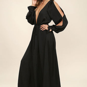 Owning It Black Satin Maxi Dress