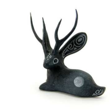Darkness Jackalope Bunny Rabbit Hare Animal Totem Sculpture Rabbit Hare figurine fantasy creature