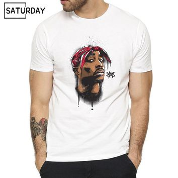 Men  Tupac 2pac Rapper Rap Print Fashion T-shirt Summer O-neck Short Sleeves White Hipster T-shirt Unisex Clothes