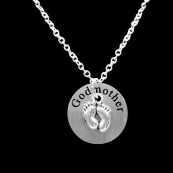 Godmother Gift Baby Footprints Feet Will You Be My Godmother Necklace