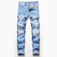 Ripped Holes Weathered Vintage Jeans [3444984086621]