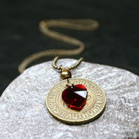 ON SALE NYC Necklace New York City Vintage Subway Token with Garnet Red Swarovski Crystal Heart ... I Love Ny  - Gifts Under 50