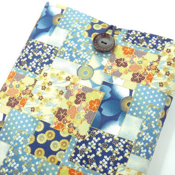 Retro Macbook Case, Handmade Fabric Laptop Sleeves, Accessory For Laptop, Japanese Cotton Fabric Patch work Pattern Blue