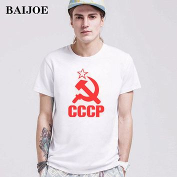 BAIJOE CCCP T Shirts Men USSR Soviet Union KGB Man T-shirt Short Sleeve Moscow Russia Tees Cotton O Neck Tops Free Shipping