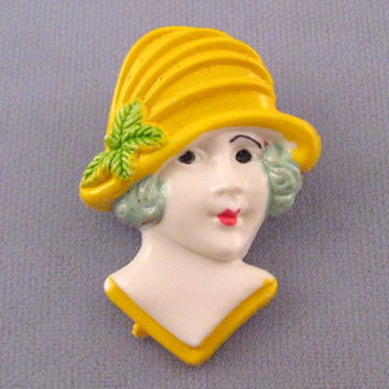1930s Girl in a Yellow Cloche Style Hat Brooch