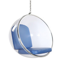 Bubble Hanging Chair, Blue Polished Chrome