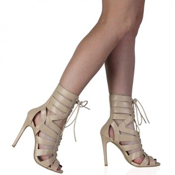 Gianna Nude Lace Up Mid Calf Heel