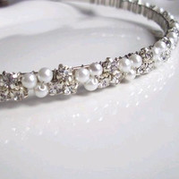 Wedding Headband Head Band Pearl Rhinestones Ivory or by JamisyJo