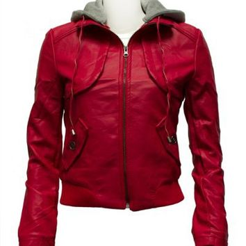 Ladies Red Synthetic Full Zip Up Leather Jacket Detachable Hoody