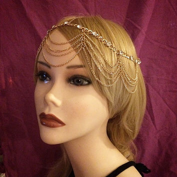 Gold Vintage Art Deco Goddess 1920's style Headchain Grecian 1920s head chain headpiece piece 20's headband band Crystal Rhinestone Drapes