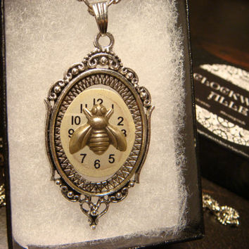 Recycled Watch Face with  Bee Steampunk Pendant Necklace Victoran Style - Upcycled Jewelry - Recycled Watch Part Jewelry (1847)