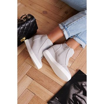 Jenna Sneaker Wedges (Grey)