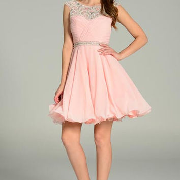 Short Blush Cocktail Prom Chiffon Dress With Cut Out Back