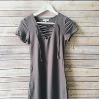 Walker Lace Up Dress (Gray)
