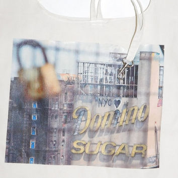 Eco Friendly Grocery Bag - Domino Sugar Building / belt and hook | reusable shopping bag, reusable grocery bag, ecobag, New York Photography